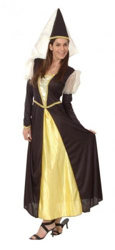 Déguisement princesse médiévale noir et jaune femme