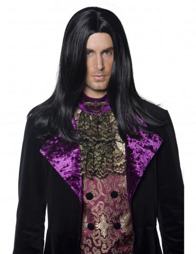 Perruque longue noire homme