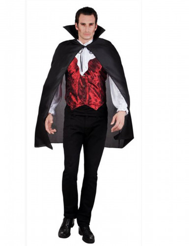 Cape vampire noire adulte 120 cm Halloween