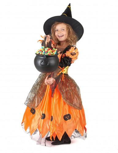 Déguisement sorcière orange fille Halloween-1