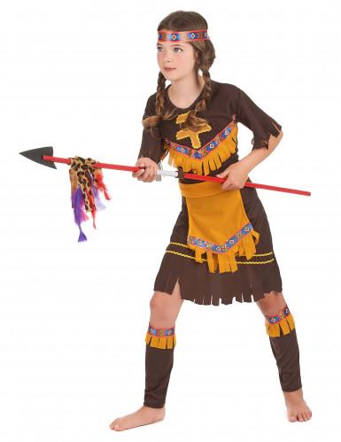 Déguisement indienne marron et jaune fille-1