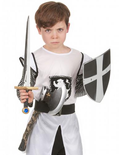 Bouclier épée et hache de chevalier médiéval en plastique enfant-1