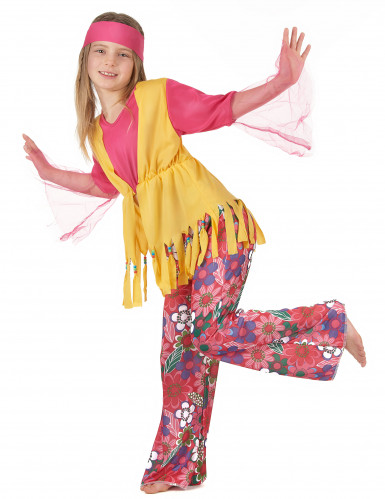Déguisement hippie muticolore fille-1
