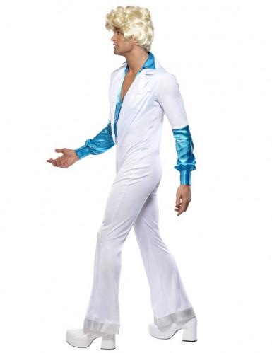 Déguisement disco blanc et turquoise homme-3
