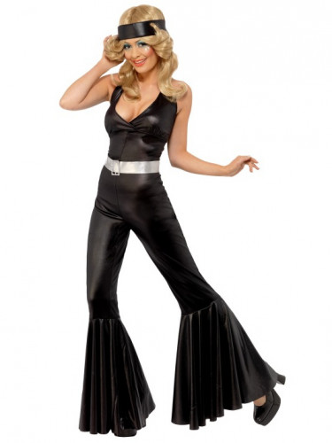 Déguisement disco noir femme-1