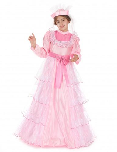 Déguisement princesse rose à dentelle fille