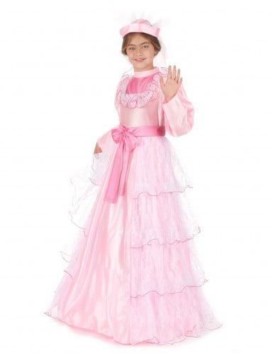Déguisement princesse rose à dentelle fille-1