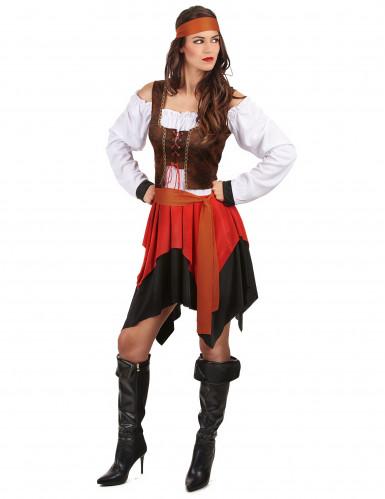 Déguisement pirate avec gilet marron femme-1
