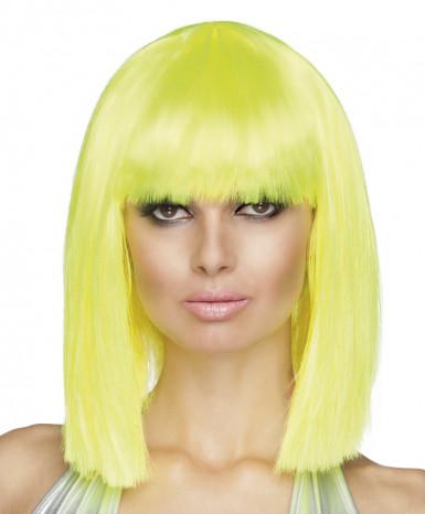 Perruque carré mi-long jaune fluo femme