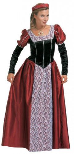 Déguisement princesse médiévale bordeaux et noir femme