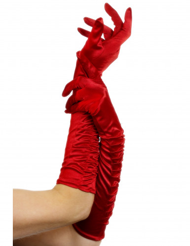 Gants mi-longs satinés rouges avec plis femme