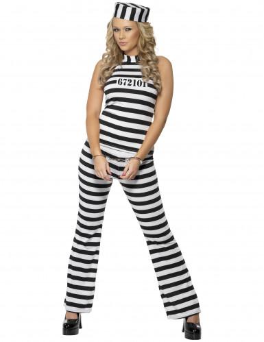 Déguisement prisonnière noir et blanc femme
