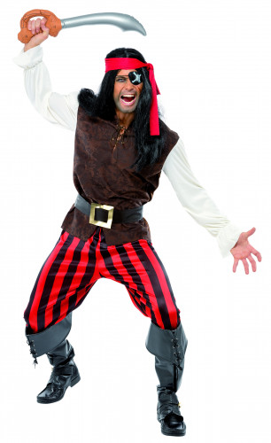 Déguisement pirate à rayures rouges homme