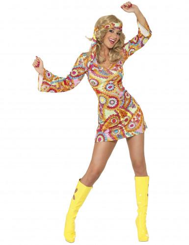 Déguisement hippie motifs colorés femme