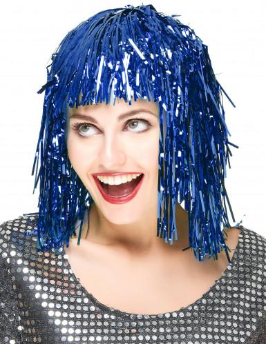 Perruque métallique bleue adulte