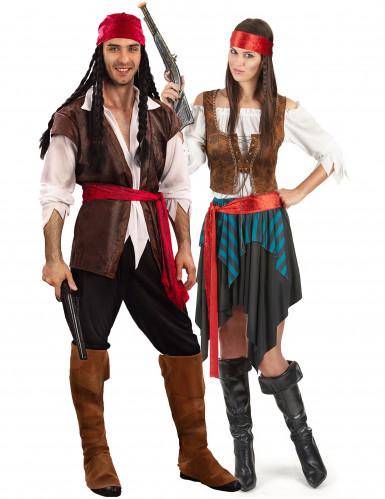 Déguisement de couple pirate à rayures