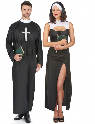 Déguisement de couple de nonne et de prêtre