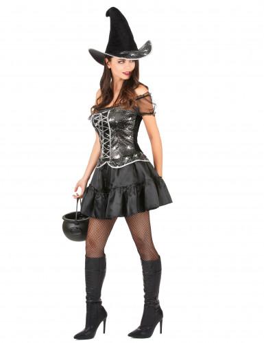 Déguisement sorcière sexy à corsage femme Halloween-1