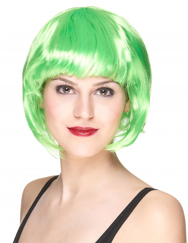 Perruque courte verte fluo femme