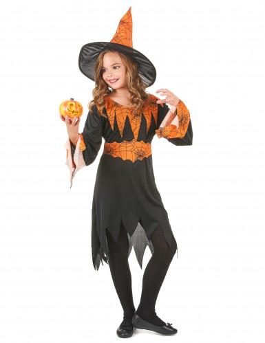 Déguisement sorcière orange et noire fille-1