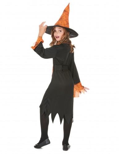 Déguisement sorcière orange et noire fille-2