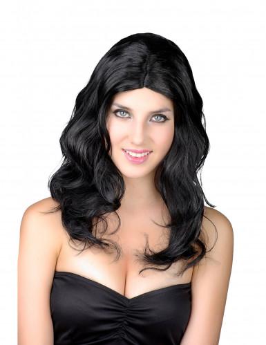 Perruque synthétique longue noire femme