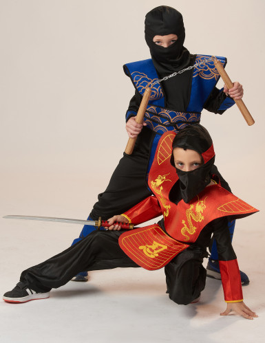 Déguisement ninja bleu et doré garçon-3