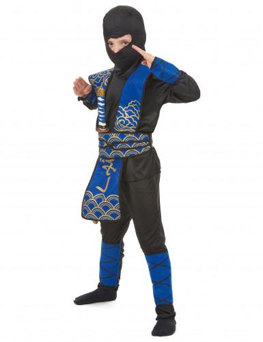 Déguisement ninja bleu et doré garçon-1