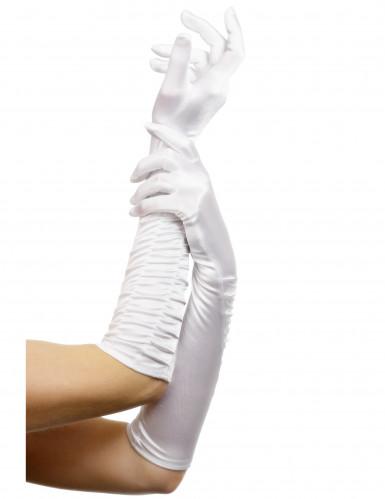 Gants longs blancs femme