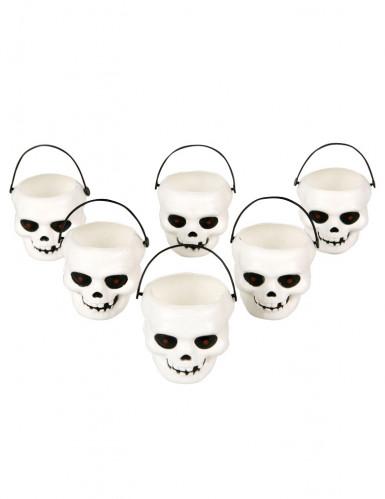 6 Mini seaux tête de mort Halloween