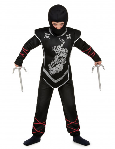Déguisement ninja dragon argenté garçon-1
