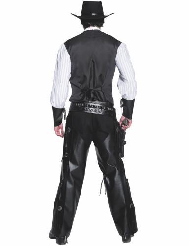 Déguisement cowboy noir effet cuir homme-1