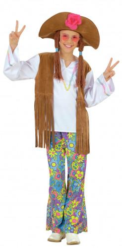 Déguisement hippie flower power effet daim fille