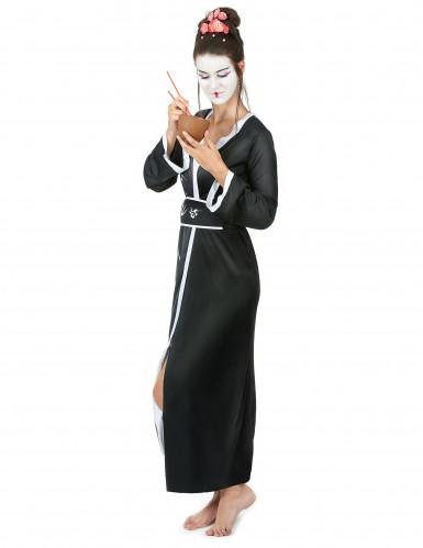 Déguisement geisha femme noir et blanc-1