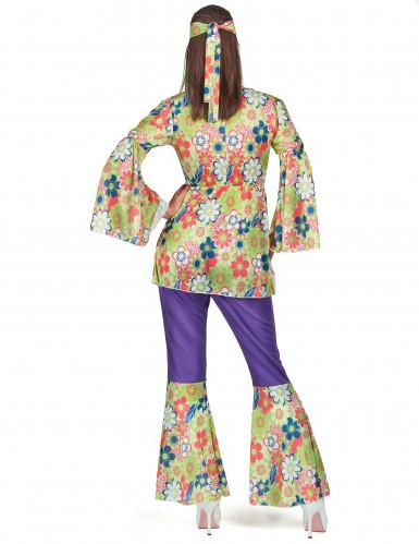 Déguisement hippie fleuri et violet femme-2