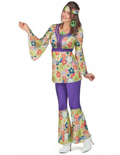 Déguisement hippie fleuri et violet femme-1