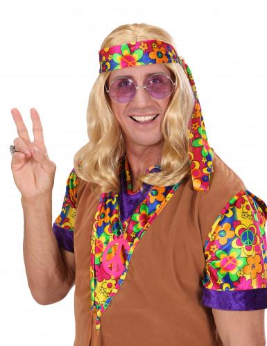Perruque blonde hippie adulte