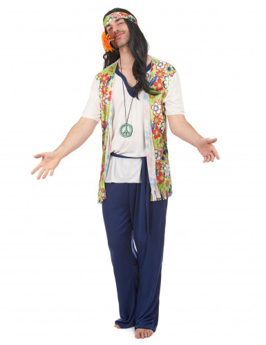 Déguisement hippie bleu homme