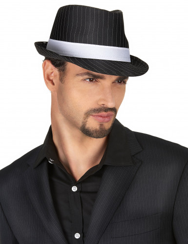 Chapeau gangster noir rayéadulte-1
