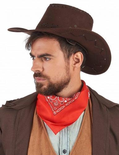 Chapeau cowboy marron effet suédé adulte-1