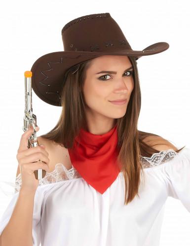 Chapeau cowboy marron effet suédé adulte-2