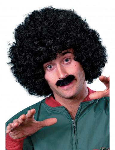 Perruque et moustache noires homme