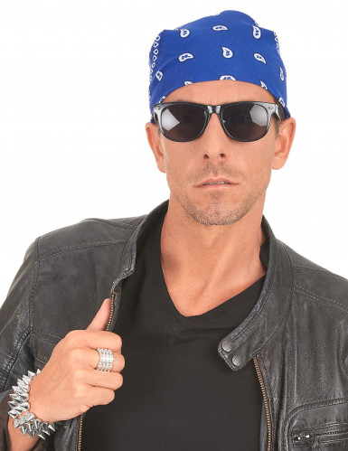 Bandana biker ou cowboy bleu-2