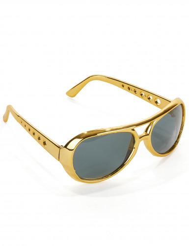Lunettes Elvis™ dorées adulte