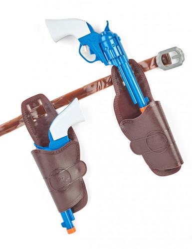 Pistolets cowboy en plastique avec étuis