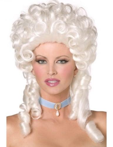 Perruque bouclée baroque blanche femme