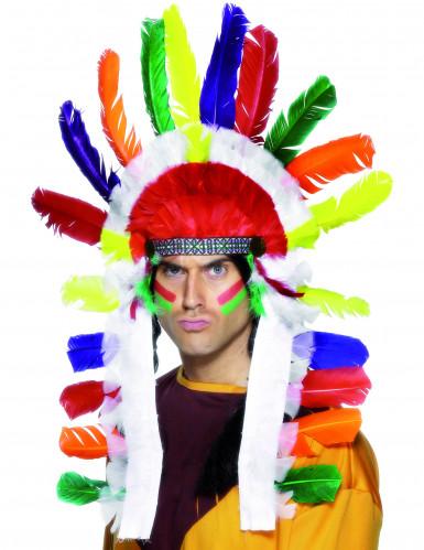 Coiffe d'indien multicolore adulte