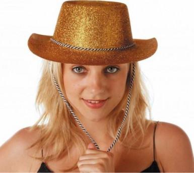 Chapeau cowgirl or à paillettes adulte