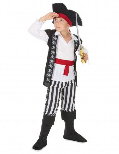 Déguisement pirate avec rayures noires et blanches garçon-1