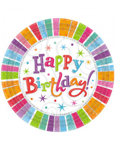 8 Assiettes happy birthday multicolores